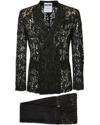 Moschino - Sheer Lace Double Breasted Suit - Men - Polyamide/rayon - 48 - Black
