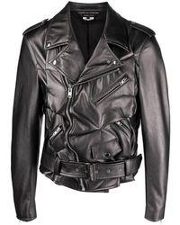 Comme des Garçons Байкерская Куртка Со Сборками - Серый