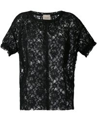 Nude - Short Sleeve Lace Top - Lyst