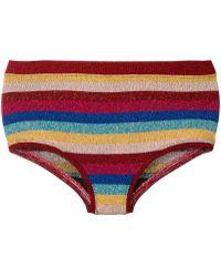 Laneus - Lurex Striped Bikini Shorts - Lyst