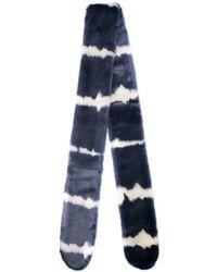 Charlotte Simone Striped Faux-fur Scarf - ブルー