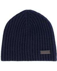 Ferragamo Ribbed Beanie Hat - Blue