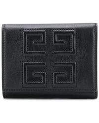 Givenchy - Black Debossed 4g Trifold Wallet - Lyst