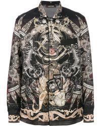 Roberto Cavalli Paisley Mix Print Pajama Shirt - Black