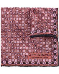Gieves & Hawkes Printed Scarf - Red