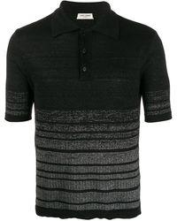 Saint Laurent Полосатая Рубашка-поло С Эффектом Металлик - Черный