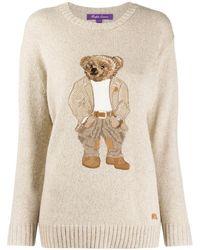 Ralph Lauren Bear-jacquard Sweater - Natural