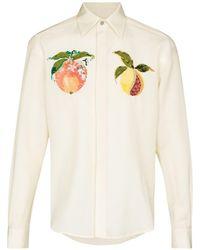 Edward Crutchley Chemise à fruits brodés - Blanc