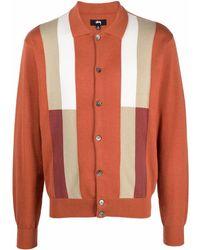 Stussy Striped Detail Cardigan - Orange