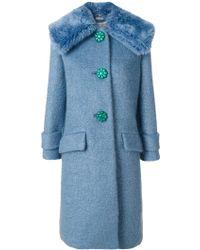 Miu Miu Faux Fur Trim Coat - Blue