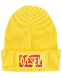 DIESEL Gerippte Beanie mit Logo - Gelb