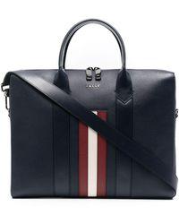 Bally Eduard Striped Business Bag - Blue