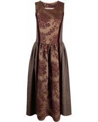 Uma Wang Robe longue sans manches à fleurs - Marron