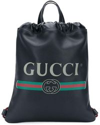 Gucci Print leather drawstring backpack - Nero