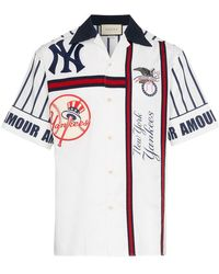 Gucci - Ny Yankees Embroidered Cotton Bowling Shirt - Lyst