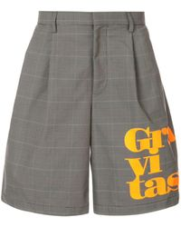 Kolor Slogan Plaid Tailored Shorts - Grey