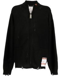 Maison Mihara Yasuhiro Distressed Zip-up Cardigan - Black