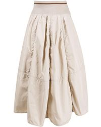 Brunello Cucinelli Puff Pleated Skirt - Natural