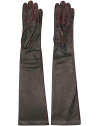 Manokhi Handschuhe mit Kontrastnähten - Schwarz