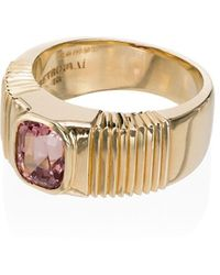 Retrouvai 14k Yellow Gold And Pink Ribbed Sapphire Ring - Metallic