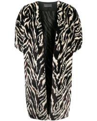 Gianluca Capannolo Oversized Zebra Print Coat - Black