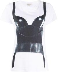 Alexander McQueen T-shirt à corset imprimé - Blanc