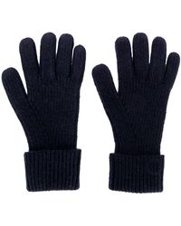N.Peal Cashmere Ribbed Knitted Gloves - Blue