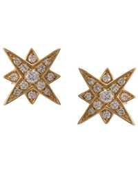 Marchesa - 18kt Yellow Gold Star Diamond Studs - Lyst