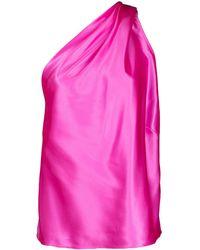 Michelle Mason Draped One-shoulder Blouse - Pink