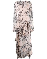 Philosophy Di Lorenzo Serafini Ruffled Floral-print Crepe De Chine Midi Dress - Pink