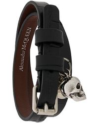 Alexander McQueen Wikkel Armband Met Doodskop - Zwart