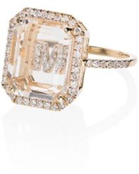 Mateo 18k Yellow Gold Frame Initial Diamond Ring - Metallic