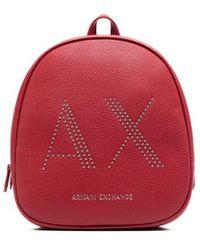 Armani Exchange ロゴスタッズ バックパック - レッド