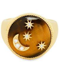 Colette Bague en or 18ct ornée d'œil-de-tigre et diamant - Métallisé