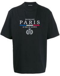Balenciaga T-shirt Met Geborduurd Logo - Zwart