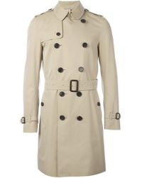 Burberry Double Breasted Gabardine Trench Coat - Natural