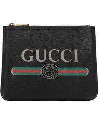 Gucci - Print Leather Small Portfolio - Lyst
