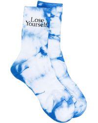 Paco Rabanne Tie-dye Slogan-print Socks - Blue