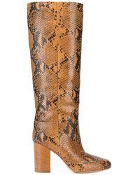 Twin Set Block Heel Snake Boots - Brown