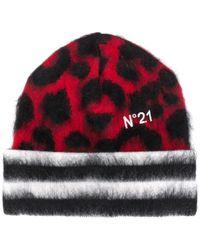 N°21 Шапка Бини С Леопардовым Принтом - Красный