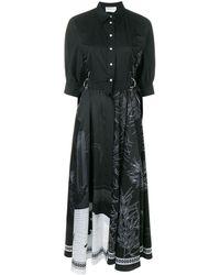 Cedric Charlier Robe-chemise à imprimé graphique - Noir