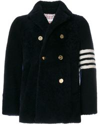 Thom Browne Unconstructed Classic Shearling Peacoat - Blue