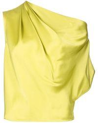Michelle Mason Asymmetric Drape Silk Blouse - Green