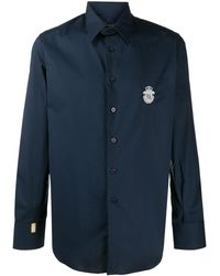 Billionaire Рубашка На Пуговицах С Нашивкой-логотипом - Синий