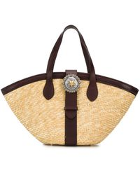KATE CATE Woven Star Buckle Tote Bag - Multicolor