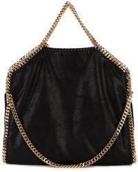 Stella McCartney Large Black Gold Falabella Tote Bag - Zwart