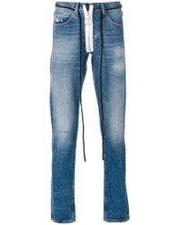 Off-White c/o Virgil Abloh - String Tie Faded Jeans - Lyst
