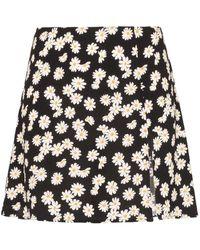 Reformation Minifalda Margot con motivo de margaritas - Negro