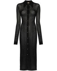 Dodo Bar Or June Crochet Buttoned Dress - Black