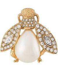Dior Pre-owned Rhinestone Embellished Fly Brooch - Metallic